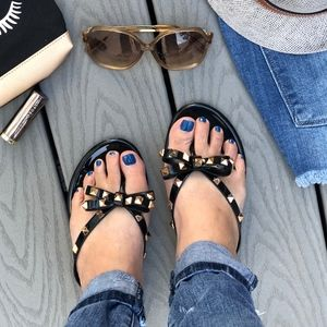 Shoes - TONYA Bow Sandals - BLACK